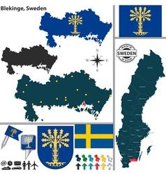 Map of Blekinge vector image vector image
