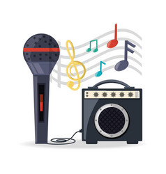 Microphone with amplifier speaker music vector