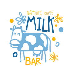 Nature milk bar logo symbol colorful hand drawn vector