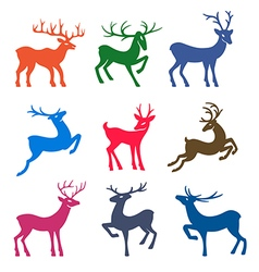 Nine colored deer set silhouettes vector