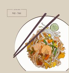 Pat thai stir-fried rice noodle local thailand vector