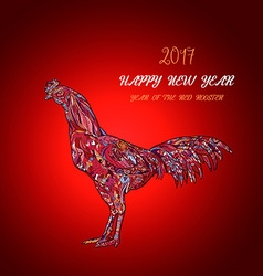 Rooster symbol of 2017 on the chinese ca vector