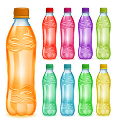 set of plastic bottles with multicolored juices vector image vector image