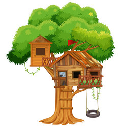 Treehouse with swing on the tree vector