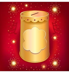 Universal blank holiday moneybox tin can template vector