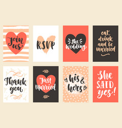 wedding invitations cards set vector image