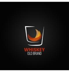 Whiskey glass splash design background vector