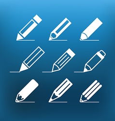 White pencil icons clip-art on color background vector image