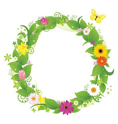 Wreath From Flowers And Leaves vector image