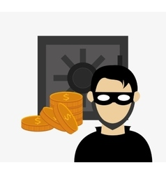 Hacker in laptop system security design vector