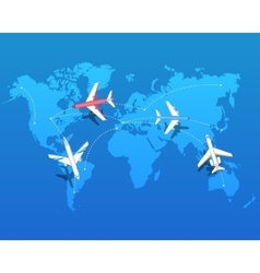 Set of airplanes flying over world map vector