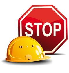 Helmet and sign stop vector