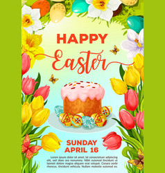 Easter cake and egg cartoon poster template vector