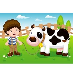 Young cattle and cow in farm vector