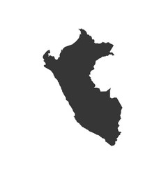 Peru map silhouette vector