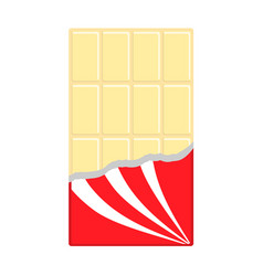 White chocolate bar icon opened red wrapping vector