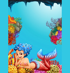 Mermaid swimming under the ocean vector