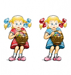 Girl with basket vector
