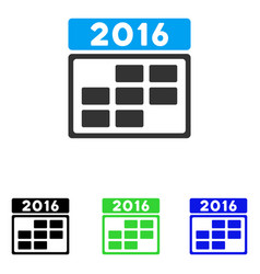 2016 calendar grid flat icon vector