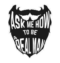 Black beard silhouette with concept phrase inside vector
