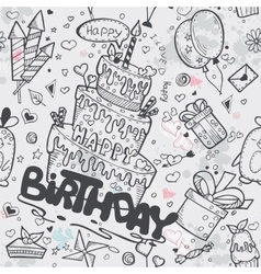 Seamless texture of the birthday with a cake vector image