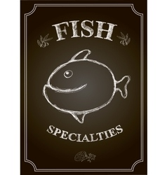 Blackboard fish restaurant menu card vector
