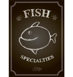 Blackboard fish restaurant menu card vector image