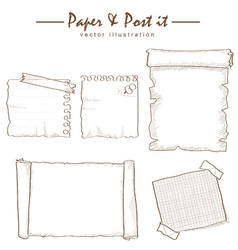 Paper and post-it collection sketch drawing vector