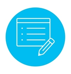 Taking note line icon vector