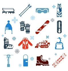 Flat monochrome skiing icons with snowflakes vector