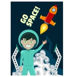 Astronaut and rocket launch vector