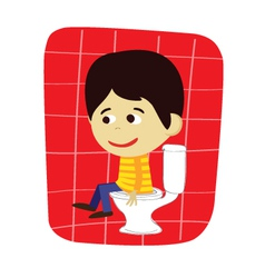 Boy in toilet vector