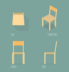 Set of wooden chair isometric drawing vector