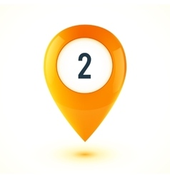 Orange realistic 3D glossy map point symbol vector image