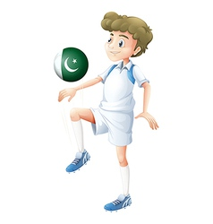 A player using the ball with the Pakistan flag vector image