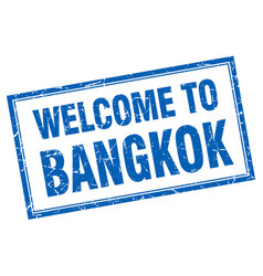 Bangkok blue square grunge welcome isolated stamp vector
