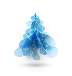 Blue Christmas tree with blurred lights on white vector image