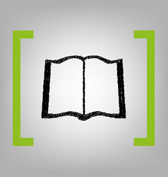 book sign black scribble icon in citron vector image vector image