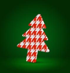 Checkered fir tree symbol over dark green vector image vector image