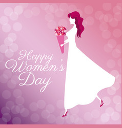 Happy womens day poster girl bouquet flowers vector