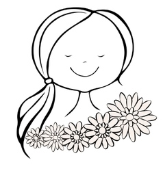 Head of pleased girl with closed eyes and flowers vector