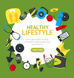 Healthy lifestyle tools round design template vector