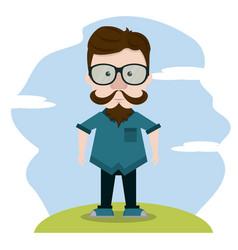 hipster over landscape vector image