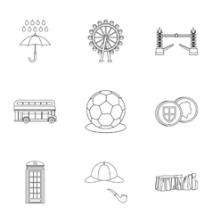 Holiday in united kingdom icons set outline style vector