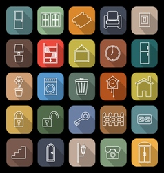 House related line flat icons with long shadow vector