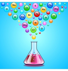 Laboratory flask and many bubbles with chemical vector