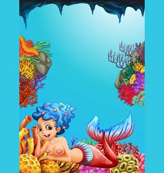 mermaid swimming under the ocean vector image vector image