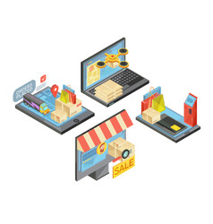 Online shopping isometric compositions vector