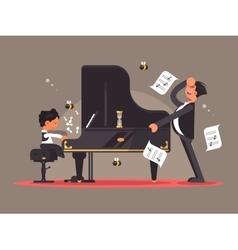 Piano tutor teaches boy vector