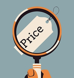 Price tag under a magnifying class vector